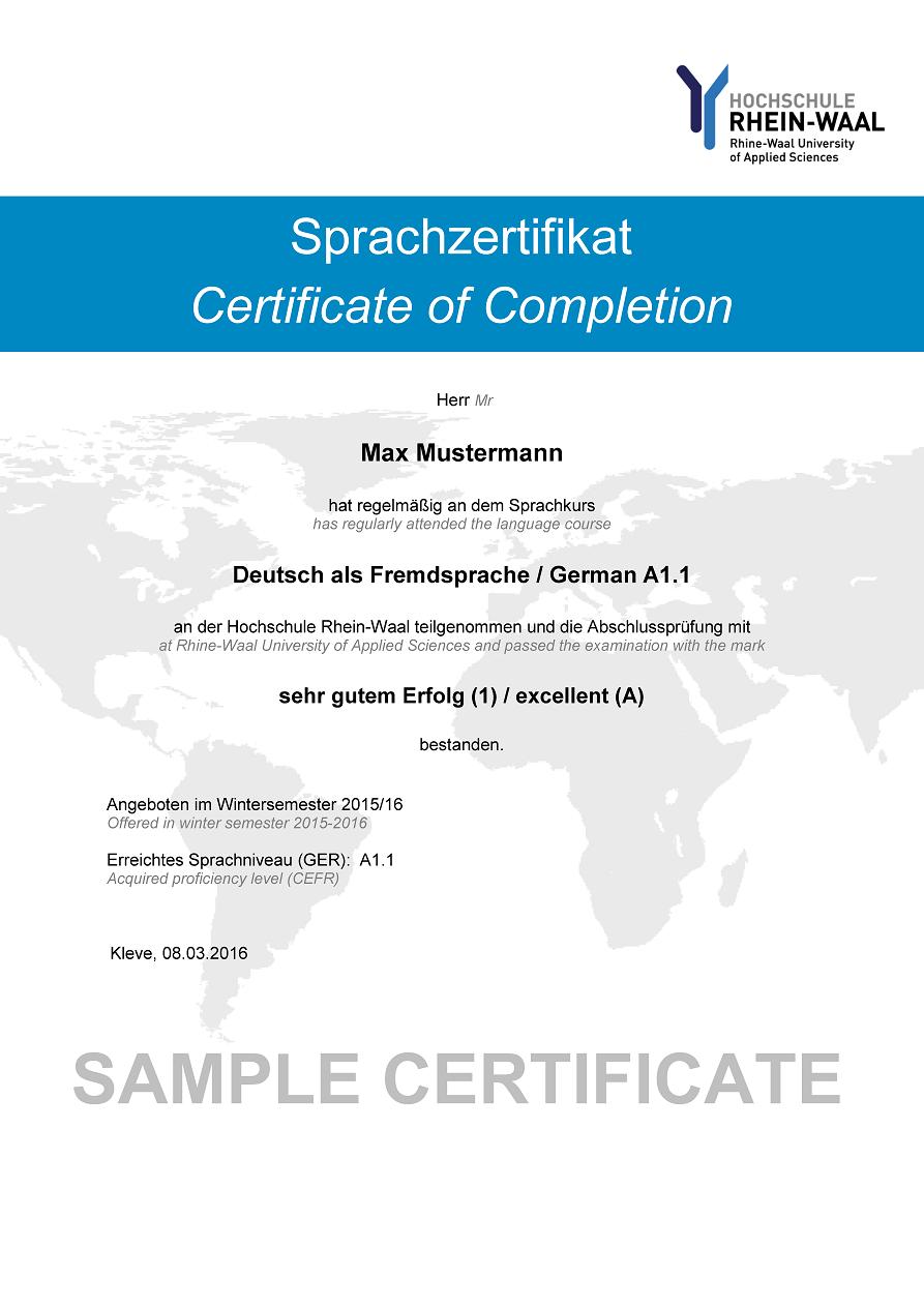 Language Certificates – Sample Congratulations Certificates