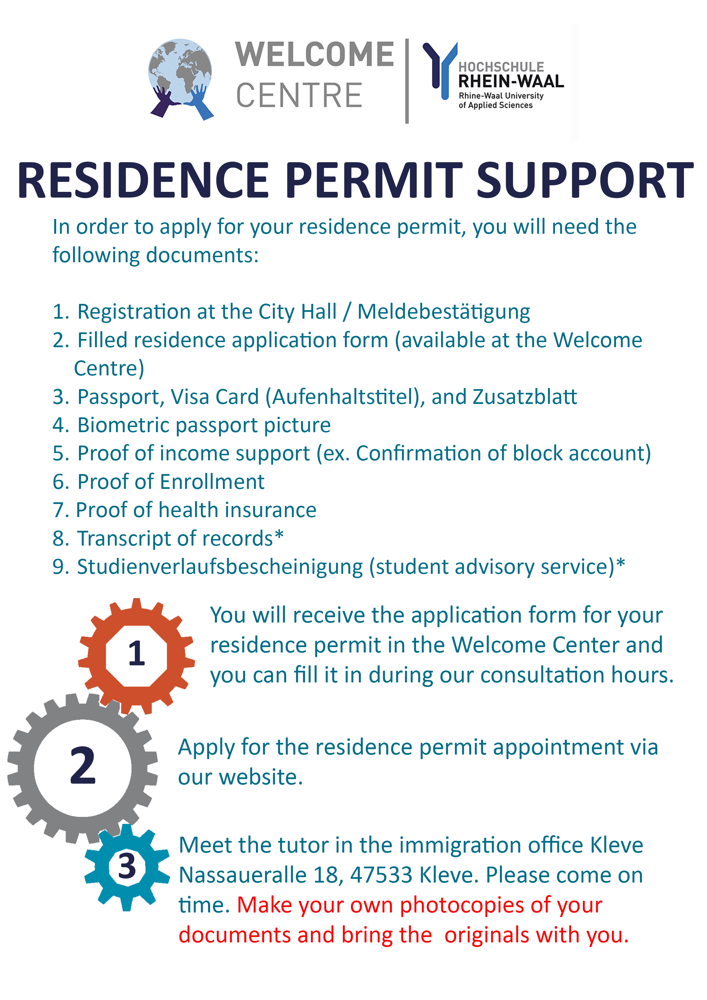 Residence Permit Support Application for Kleve | Rhine-Waal ...
