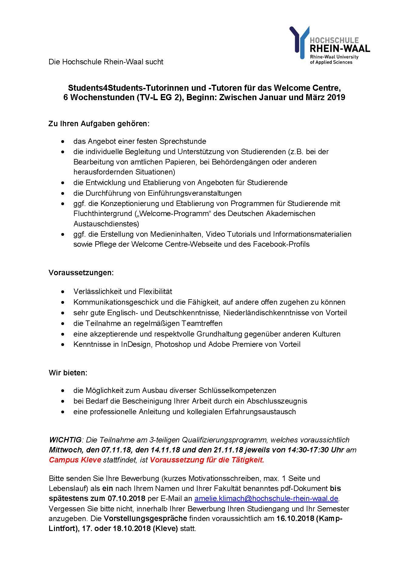 Oktober 2018 endet die Bewerbungsfrist. Weitere Informationen entnehmen Sie  bitte der Stellenausschreibung.